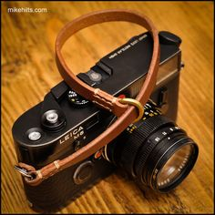 Hand Crafted Leather Camera Wrist Strap for the Minimalist Shooter with Linen Stitching.