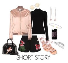 """""""Short Story"""" by visibleinterest ❤ liked on Polyvore featuring Valentino, Misha Nonoo, Yves Saint Laurent, Ancient Greek Sandals, STELLA McCARTNEY, Kate Spade, Victoria Beckham, shorts, jewelry and longearrings"""