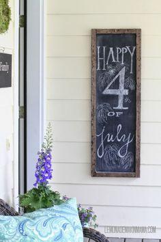 Lemonade Makin' Mama- a front porch chalkboard and fourth of July chalk art