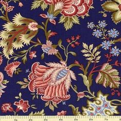 jacobean floral - dark blue coral pink blue green
