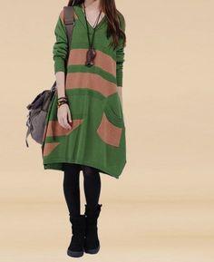 Green  big Knit sweater dress  plus size sweater by ElegantGens, $56.90