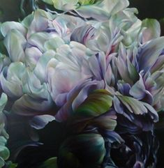'A Pause Between Daylight and Darkness _SOLD Artist: Marcella Kaspar Big Flowers, Beautiful Flowers, Watercolor Flowers, Watercolor Art, Glass Photography, Art Base, Botanical Art, Art Oil, Painting Inspiration
