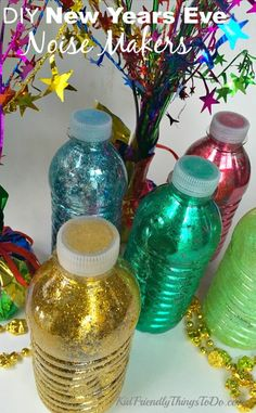 Make New Years Eve Noise Makers out of recycled water bottles for the kids or the adults at your party! Easy to make!  - KidFriendlyThingsToDo.com Countdown For Kids, New Year's Eve Countdown, Diy New Years Eve Decorations, New Year's Eve Crafts, Holiday Crafts, Kids New Years Eve, New Year Diy, Arts And Crafts For Adults, New Year Celebration