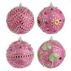 "RAZ Pink Glittered 4"" Ball Ornaments"