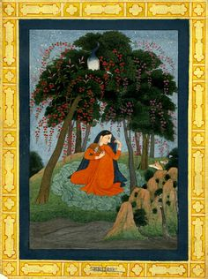 Utka nayika. Painting of a girl waiting for her lover under a tree. Painted on paper.      Pahari School.      Kangra Style.  Date      19thC(late).       Painted in: Panjab Hills