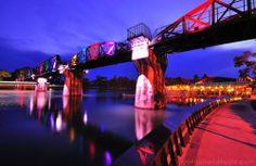 River Kwai Bridge @ night time, Kanchanaburi - Thailand