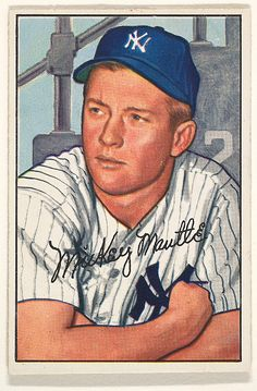 Issued by Bowman Gum Company. Mickey Mantle, Center Fielder, New York Yankees,