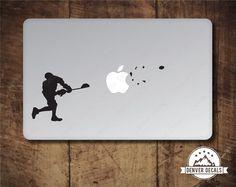 Lacrosse Sticker MacBook Decal Blasting the Apple by DenverDecals