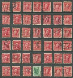 US 1903 Definitives collection of 42 stamps # 319 - 2¢ Washington - carmine