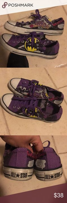 Limited edition batgirl Batman converse low purple Worn but in excellent condition. They just need a good scrubbing on the rubber parts (as you can see) but in otherwise flawless condition. Worn only a handful of times, less than 5. Basically a brand new shoe. Converse Shoes Sneakers