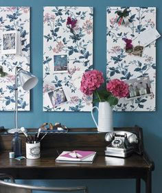 Cover bulletin boards with fabric to create attractive artwork that doubles as a spot for holding reminders, notes, and more.