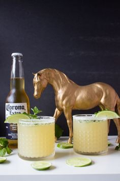 msg 4 21 Mint Lime Beer Margarita with equestrian decor for the Kentucky Derby. Party Drinks, Fun Drinks, Yummy Drinks, Alcoholic Drinks, Beverages, Winter Cocktails, Summer Cocktails, Cocktail Drinks, Cocktail Recipes