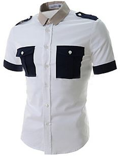 Fashion Shirt Collar Slimming Epaulet Design Color Splicing Short Sleeve Polyester Shirt For Men African Dresses Men, African Clothing For Men, Plus Size Womens Clothing, Chemise Fashion, Cosplay Outfits, Custom Clothes, Dame, Casual Shirts, Men Casual