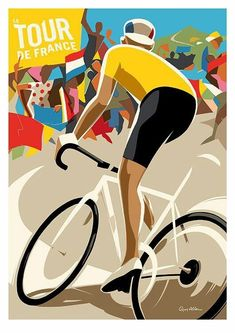 Rollers Instinct — Le Tour de France by Guy Allen. Cycling T Shirts, Cycling Art, Cycling Bikes, Cycling Quotes, Cycling Jerseys, Art And Illustration, Illustrations Posters, Retro Poster, Vintage Posters