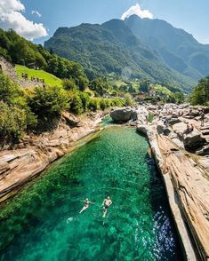 Emerald Greens in Lavertezzo, Switzerland