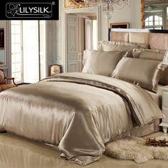 LILYSILK 4pcs Silk Bedding Set 100% Mulberry Seamless Silk Duvet Cover Silk Fitted Sheet Silk Terse Pillowcases 19 Momme