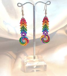 Rainbow Pride Chainmaille Earrings - Anodized Aluminum - Box & Mobius…