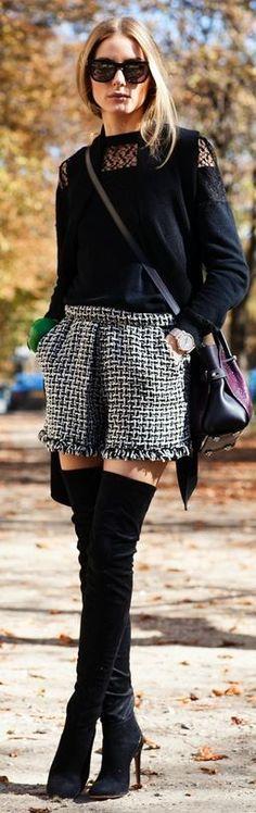 Botas over the knee com shorts e casaco.Look lindo e super estiloso para o inverno.