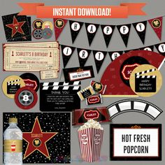 Movie Party Decorations & Movie Ticket by PartyPrintables2go