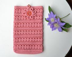 Crochet la copertura di smartphone, crochet custodia, accessori, borsa, portafogli, antico uncinetto rosa custodia, tessile