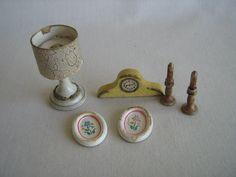 1:12 Dollhouse Miniature Mini Copper Base Glass Candlestick Retro Kerosen