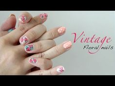 Easy Vintage Floral Nails ♥  I'm doing this for my next manicure