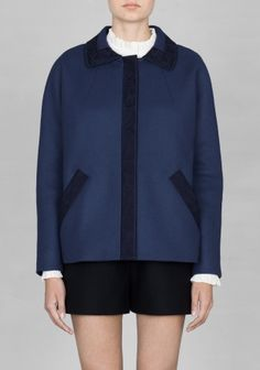 Embroidered navy blue jacket