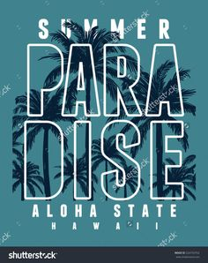 Hawaii typography for t-shirt print , vector illustration