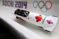 Pilot Justin Kripps, Jesse Lumsden, Cody Sorensen and Ben Coakwell of Canada team 3 make a run during the Men's Four Man Bobsleigh heats (c) Getty Images Bobsleigh, Shoe Sites, Shoe Manufacturers, Sports Photos, Winter Olympics, Winter Sports, Olympic Games, Running Shoes For Men, Adidas Men
