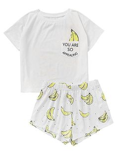 Polyester, Spandex Pull On closure Tee And Shorts Pajama Set Round neck, short sleeve Style: Casual, Cute, Cartoon pattern printed Fabric is very stretchy Please refer to the size measurement below before ordering # slippers outfit # slippers Cute Sleepwear, Cotton Sleepwear, Pijamas Women, Cute Dress Outfits, Half Shirts, Cute Pajamas, Plaid Pajamas, Tumblr Outfits, Pajama Shorts
