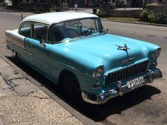 Blue american classic car in Cuba Havana