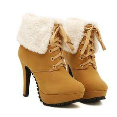 Warm Winter Woman Fur Decoration Brown Martin Boots