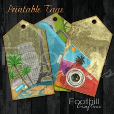 Instant Download 8 Travel World Gift Hang by FoothillCrafters, Instant Download, 8 Travel World Gift Hang Tags,3.75 x 2, Printable Digital Collage Sheet, Maps,Paris, Airplane Tickets, Compass, Luggage $3.00 #tags #travel #paris #party_favors #hangtags #gift_tags