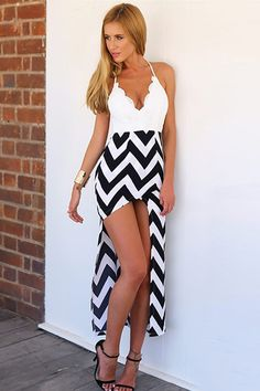 Lace Splicing Stripe Asymmetrical Dress