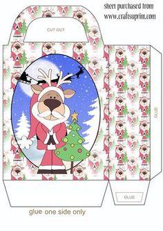 Reindeer Santa gift bag on Craftsuprint designed by Stephen Poore -