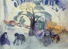 """Fairy tale. Garden of Eden. - Мартирос Сарьян Martiros Saryan - """"Fairy tale. Garden of Eden."""" 1904"""