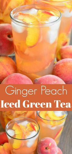 Ginger Peach and Honey Iced Green Tea. This iced green tea .- Ginger Peach and Honey Iced Green Tea. This iced green tea is flavored with fresh, juicy peaches, fresh ginger, and honey. Sweet Tea Recipes, Iced Tea Recipes, Sweet Green Tea Recipe, Tazo Tea Recipe, Gin Und Tonic, Green Tea Drinks, Iced Green Teas, Peach Drinks, Drink