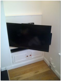 Need TV in kitchen due to obstructed view to LR tv. ideas… Need TV in kitchen due to obstructed view to LR tv. Alcove Storage, Alcove Shelving, Alcove Cupboards, Hidden Storage, Alcove Tv Unit, Wall Shelving, Book Shelves, Corner Shelves, Storage Shelves