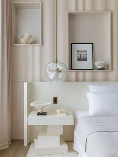 WHITE CONTEMPORARY NIGHTSTAND | Like a construction in progress, this white nightstand seems endless. White different levels and sizes, this is the piece that you want to get cozy and modern master bedrooms | http://masterbedroomideas.eu #luxuryfurniture #interiordesign #masterbedroomideas