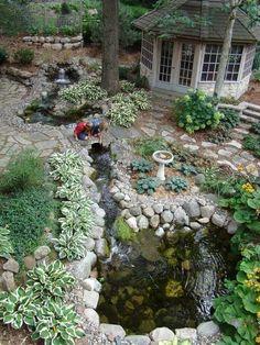 Pretty Backyard Lighting Ideas For Your Pond Waterfall 640 x 480