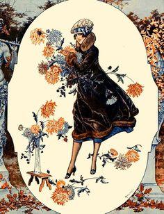 La Vie Parisienne Woman w Flowers 1925 Cheri Herouard