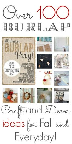 All Things Burlap: See and make 10 Beautiful Burlap Crafts, Home Decor and DIY Projects for your home! Burlap table decor, banners, wreaths and more! Burlap Projects, Burlap Crafts, Crafty Projects, Diy Projects To Try, Decor Crafts, Fabric Crafts, Sewing Crafts, Diy Crafts, Rustic Crafts