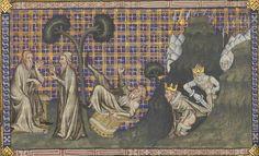 14th century chair / throne ( manuscript : BNF Français 22913 De Civitate Dei traduction en français, Folio 186v, 1370-1380, France )