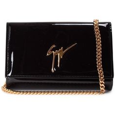 Giuseppe Zanotti Lori Patent Leather Clutch Bag ($510) ❤ liked on Polyvore featuring bags, handbags, clutches, nero, chain strap purse, giuseppe zanotti, chain strap handbag, patent leather handbags and patent leather purse