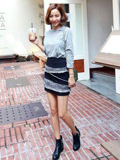 bagazimurijp   bagazimuriさんのスカート「 ツイードフリンジあしらい タイトミニスカート」を使ったコーディネート