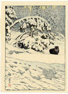 Serow in snow, Toshi Yoshida