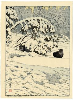 Serow in snow, Toshi Yoshida