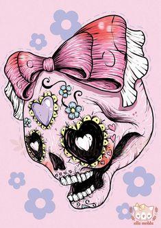 A4 Print of a Pink Sugar Skull Illustration by ellamobbs on Etsy, $20.00