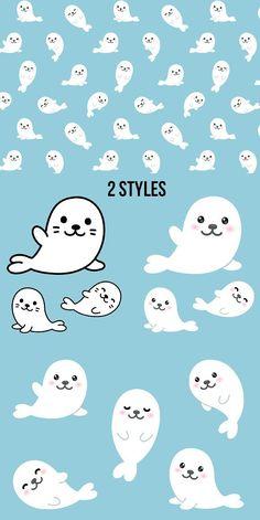 Cute Kawaii Animals, Cute Cartoon Animals, Baby Cartoon, Seal Cartoon, Cute Cartoon Drawings, Seal Pup, Baby Seal, Cute Seals, Kawaii Doodles