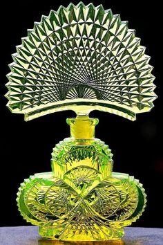 Vintage Czech Uranium Shamrock Shaped Perfume Bottleca.1918. Signed Pesnicak at the bottom.